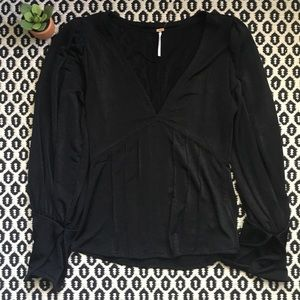 NWOT Free People Black Plunge V-Neck Blouse Sz S